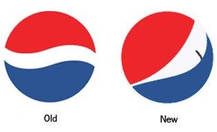 New Pepsi logo versus old Pepsi logo
